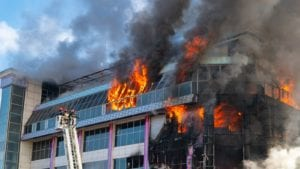 Business office building on fire